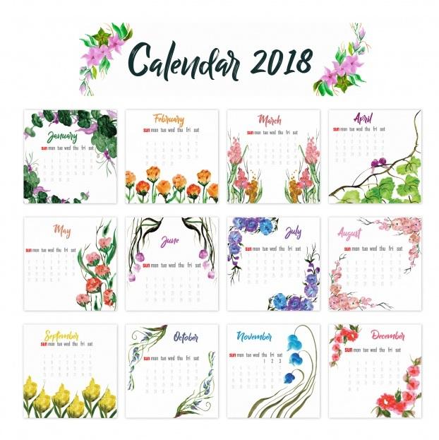 12 Month 2018 Calendar Floral Design