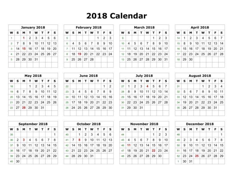 12 Month Anual Calendar Template 2018