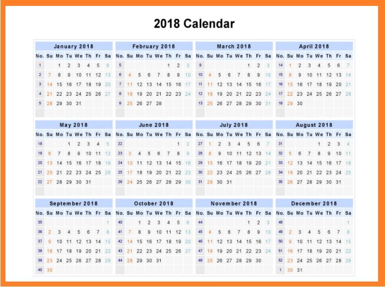 12 Month Calendar 2018 Template