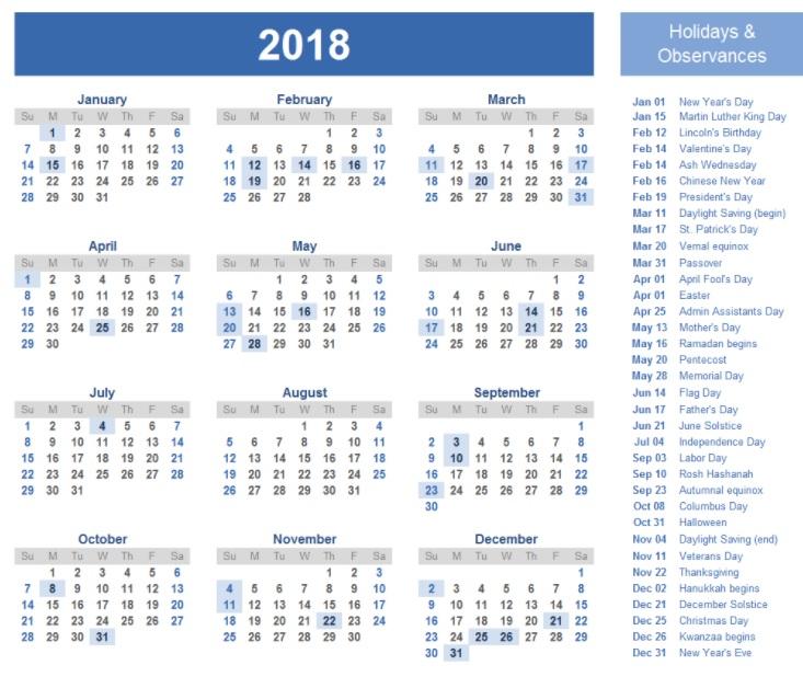 12 Month Calendar Template 2018 For Wall