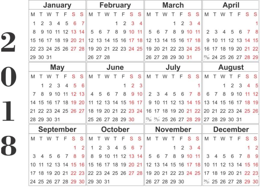12 Month Calendar Template 2018