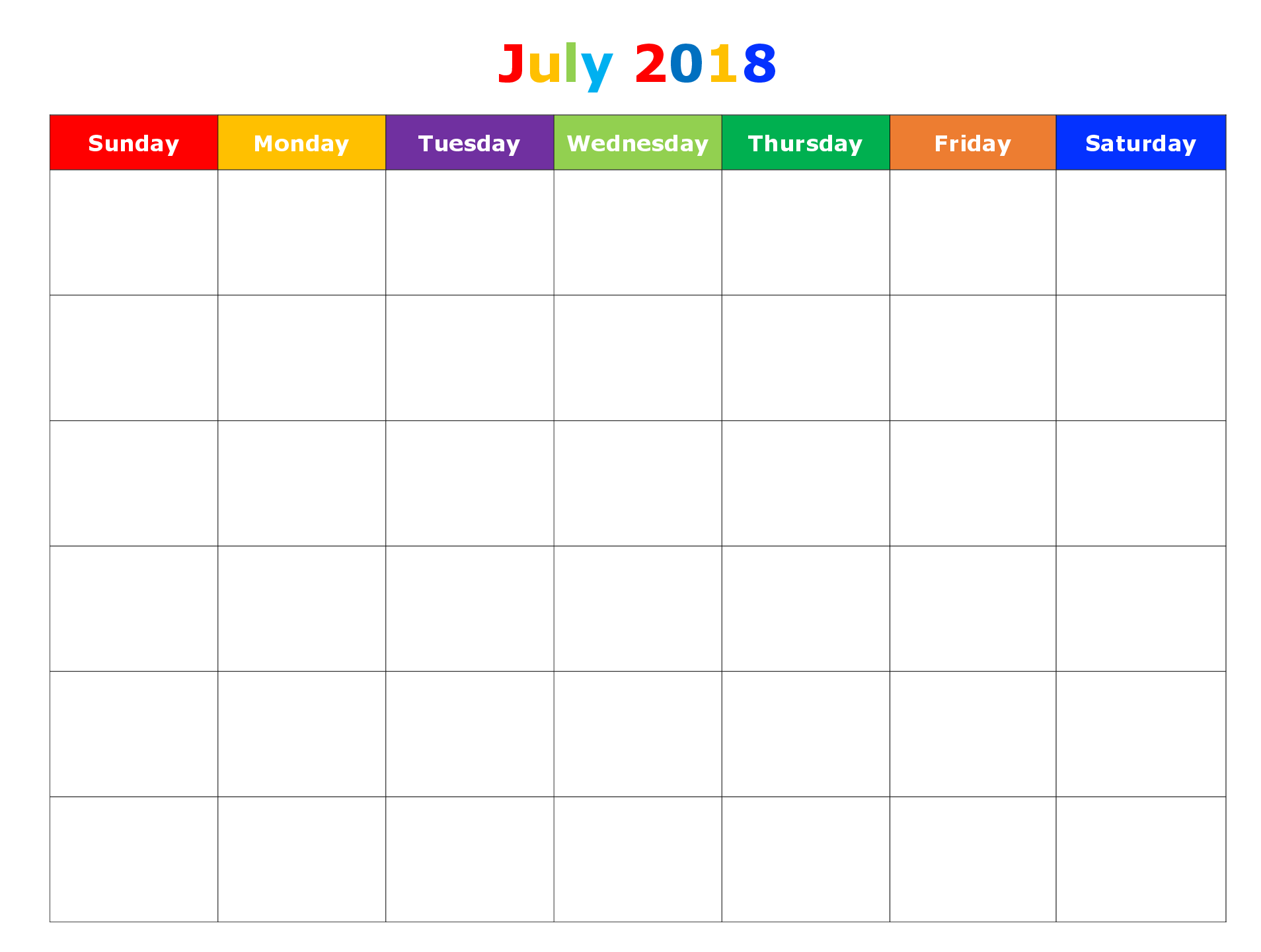 2018 Blank July Calendar