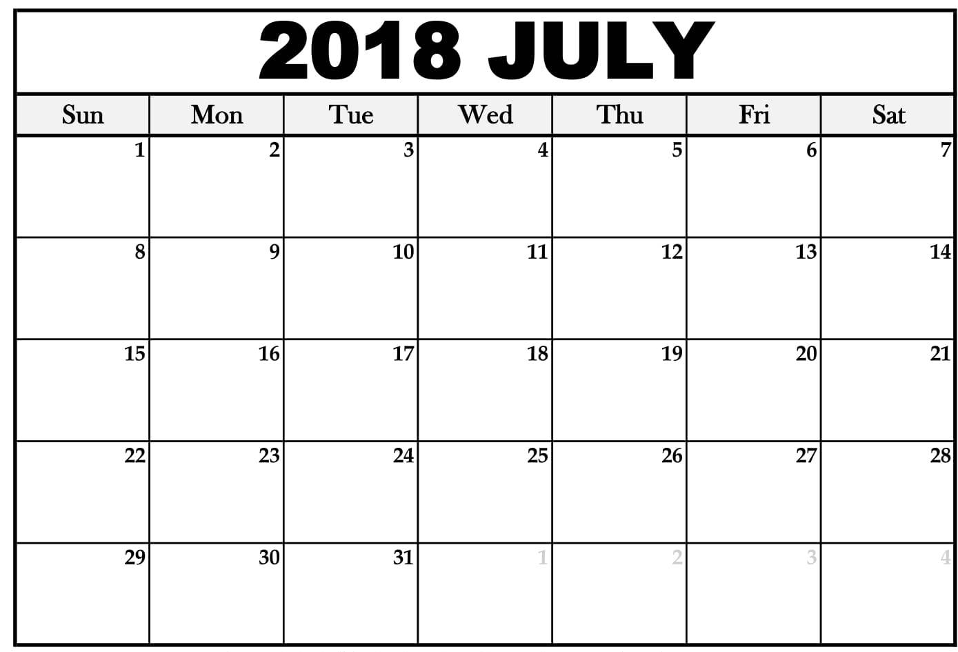 2018 Calendar For July Month
