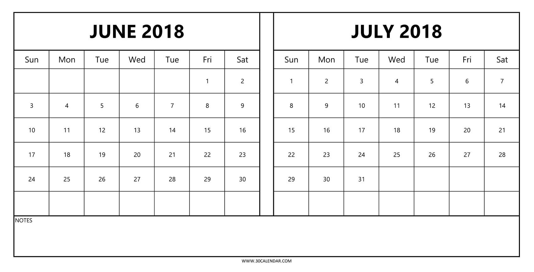 2018 Calendar June July