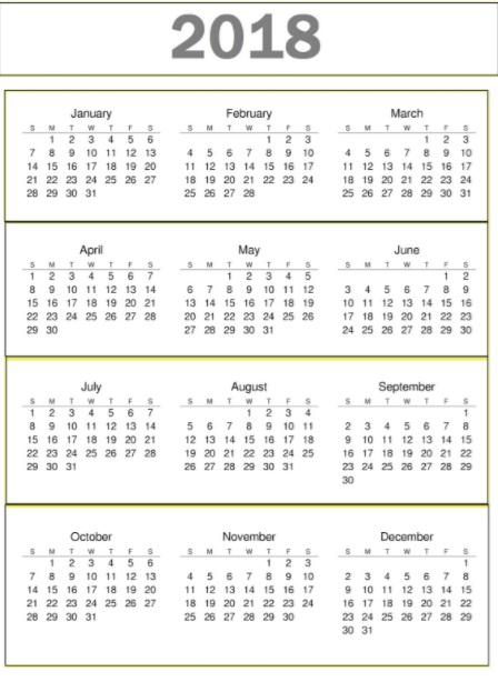 2018 Calendar Ready To Print