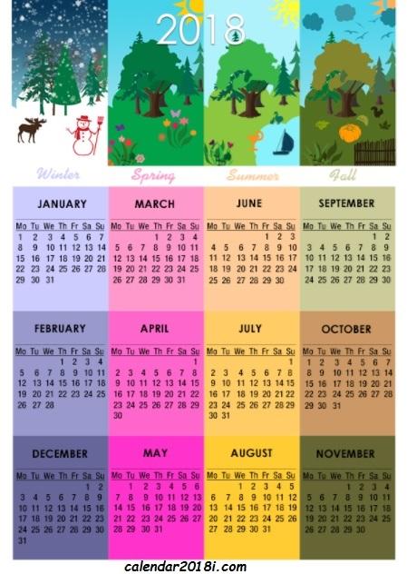 2018 Calendar United States Design