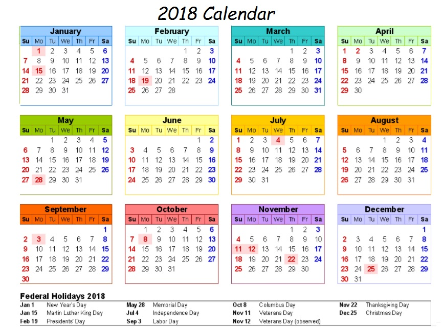 2018 Calendar on One Page Holidays