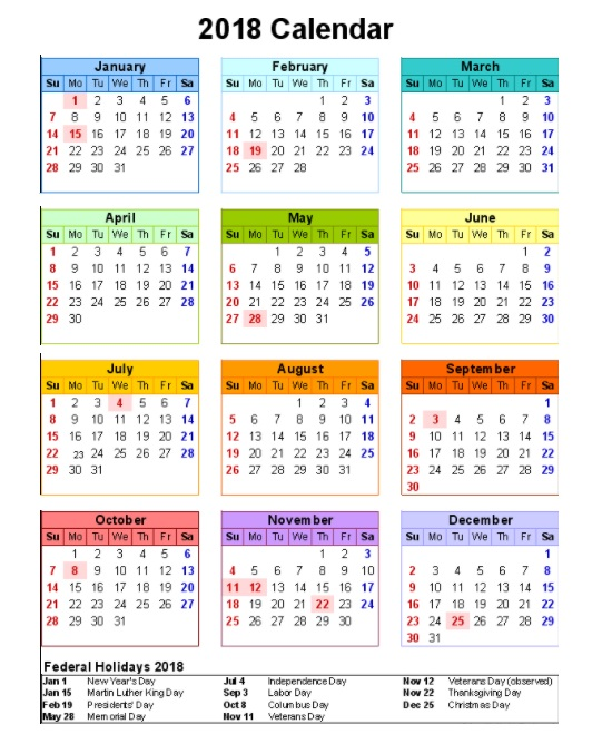 2018 Calendar with Holidays Of United States