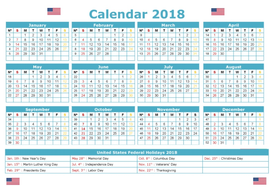 2018 Calendar with United States Holidays