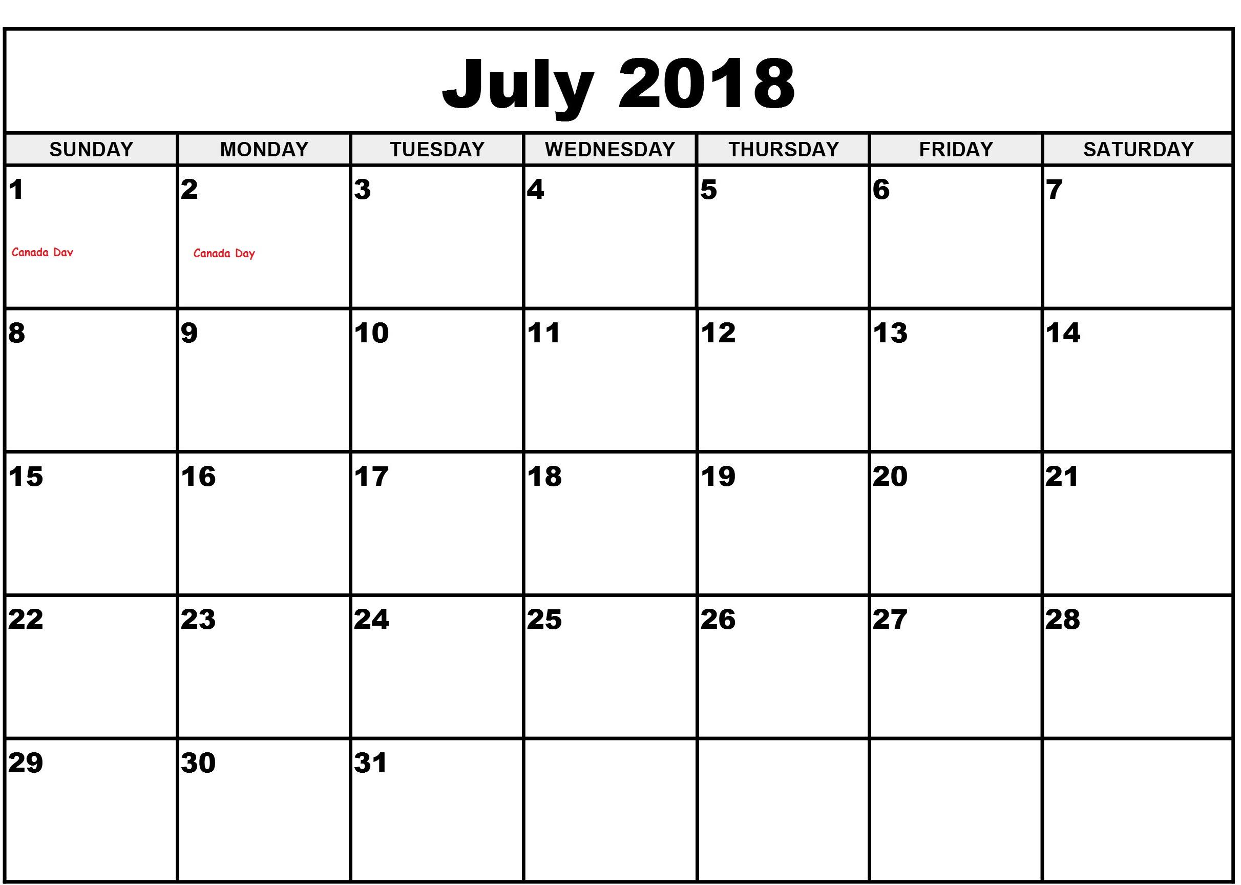 July 2018 CalendarTemplate