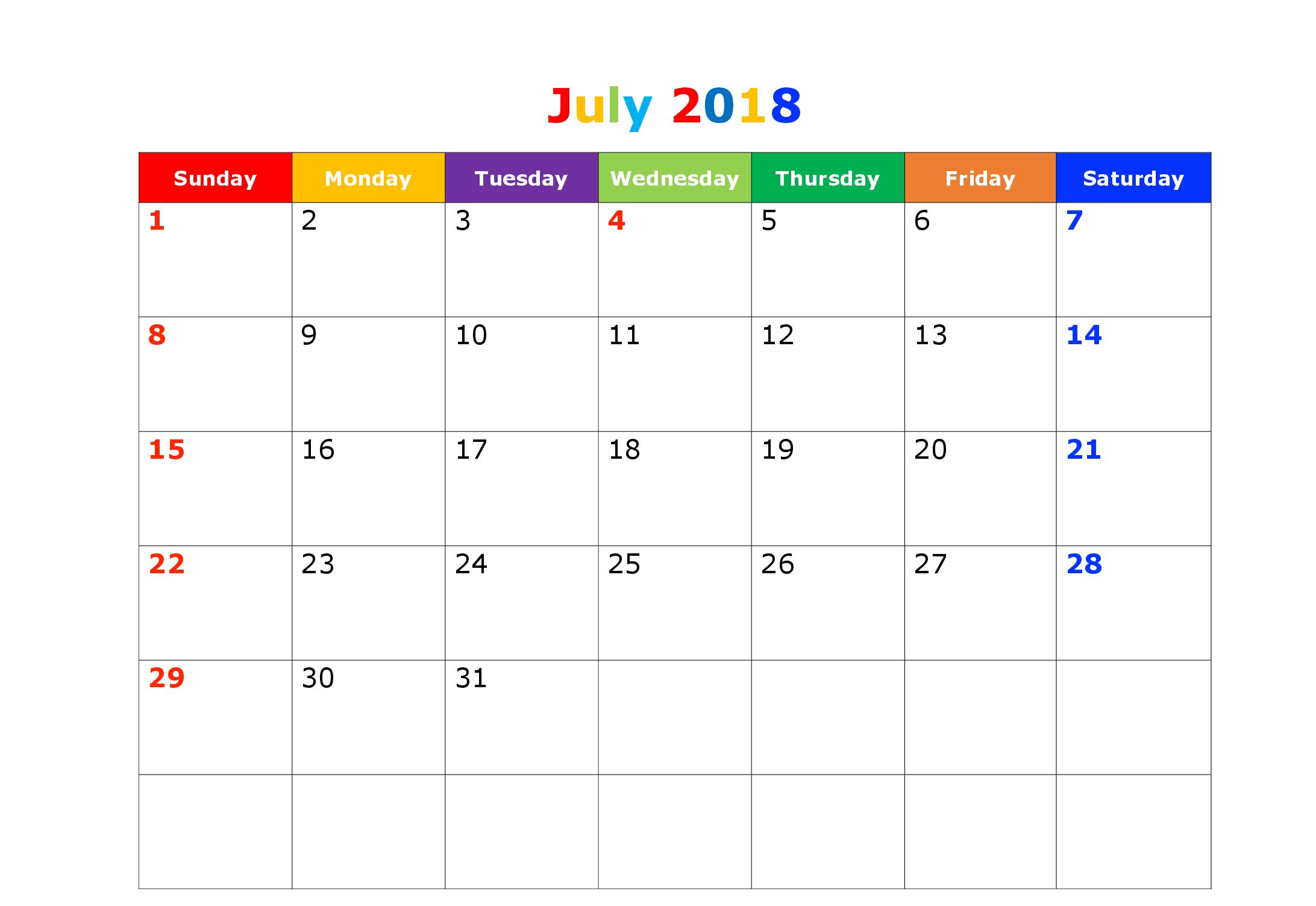2018 July Calendar Printable