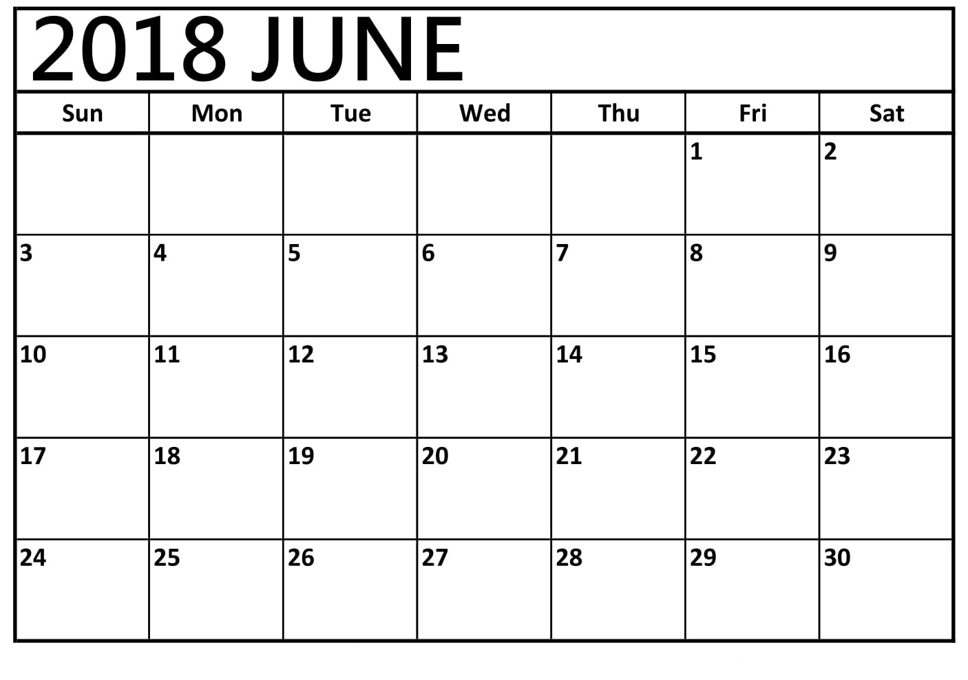 2018 June Calendar Blank Printable