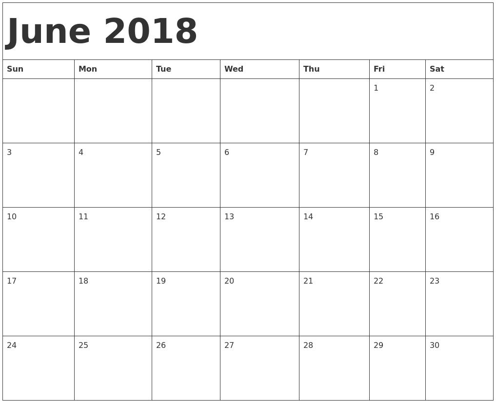 2018 June Calendar Download