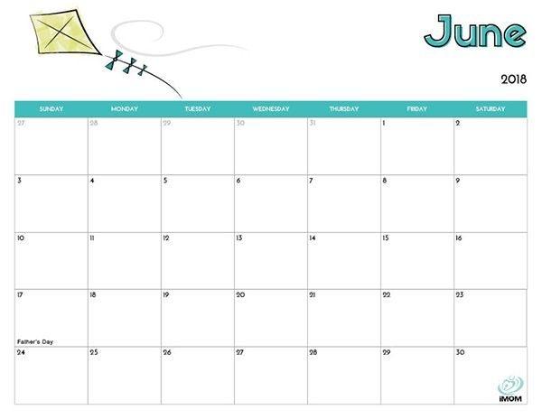 2018 June Calendar Excel Format