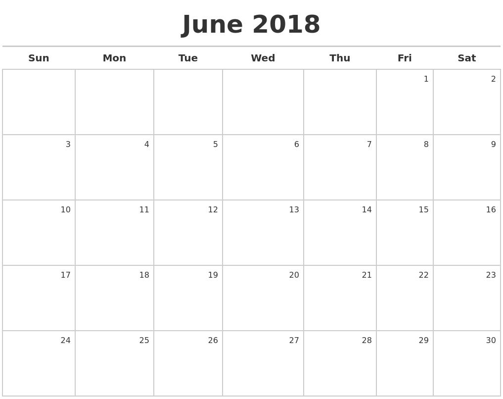 2018 June Calendar Page