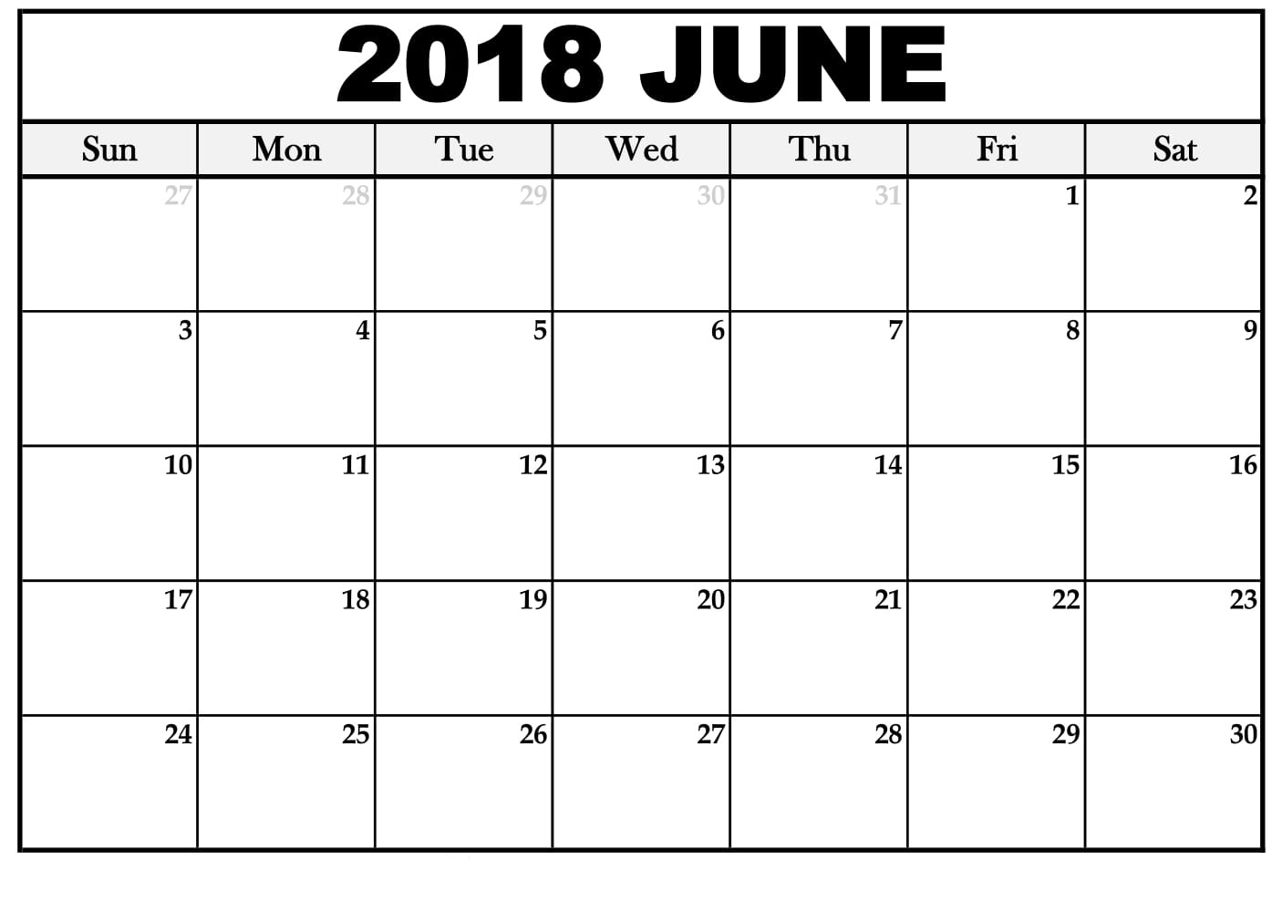 2018 June Calendar Printable Template