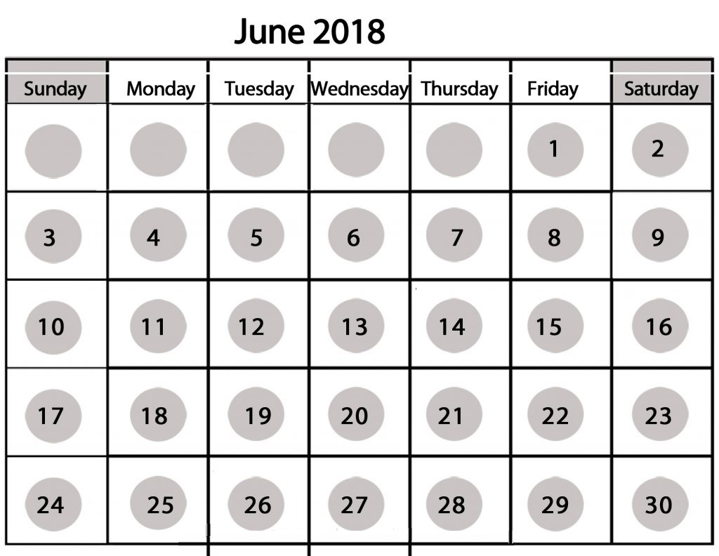 2018 June Calendar Printable with Holidays