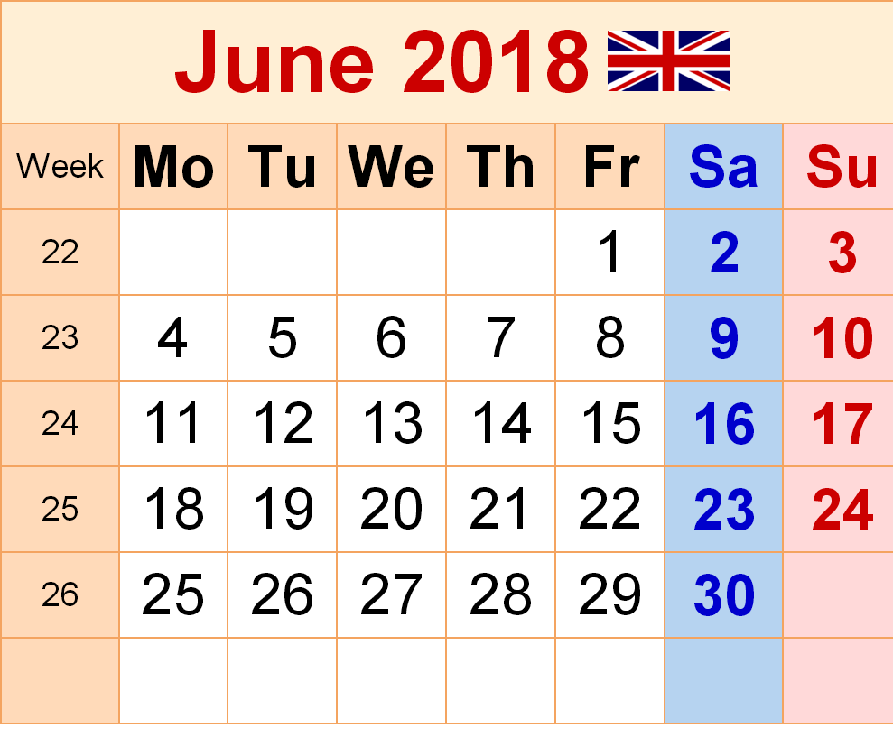2018 June Calendar With Holidays UK
