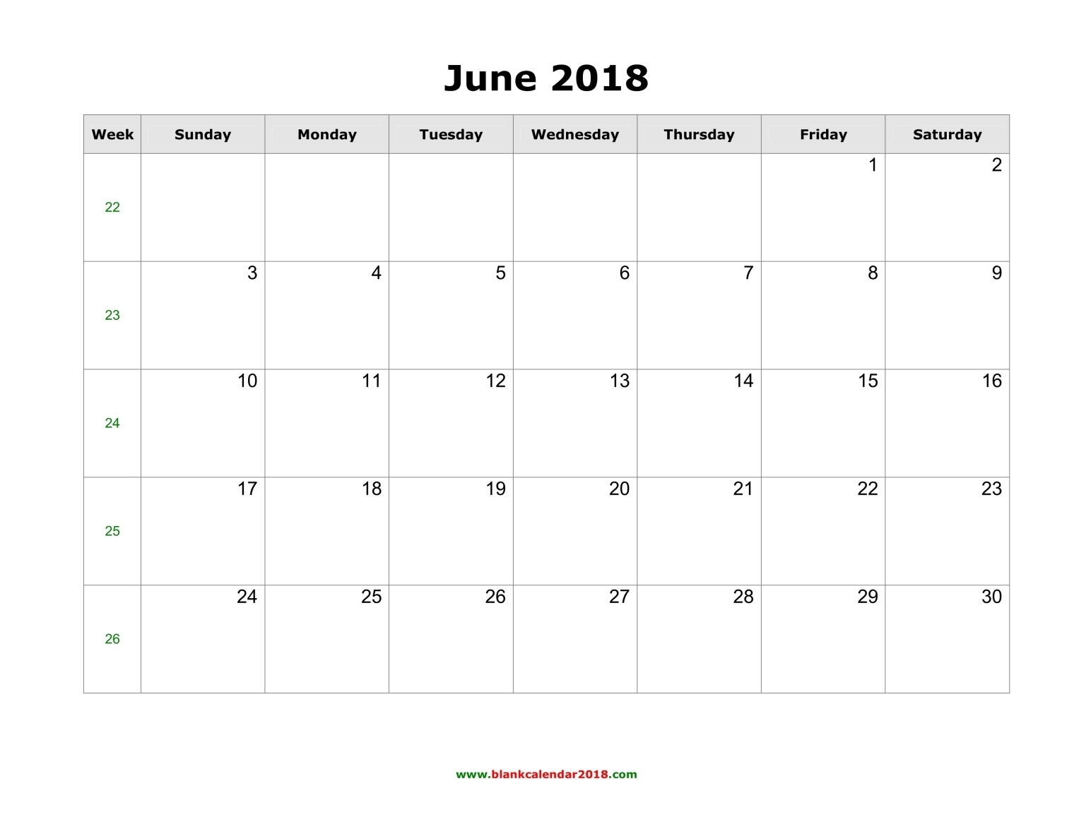 2018 June Calendar with Holidays