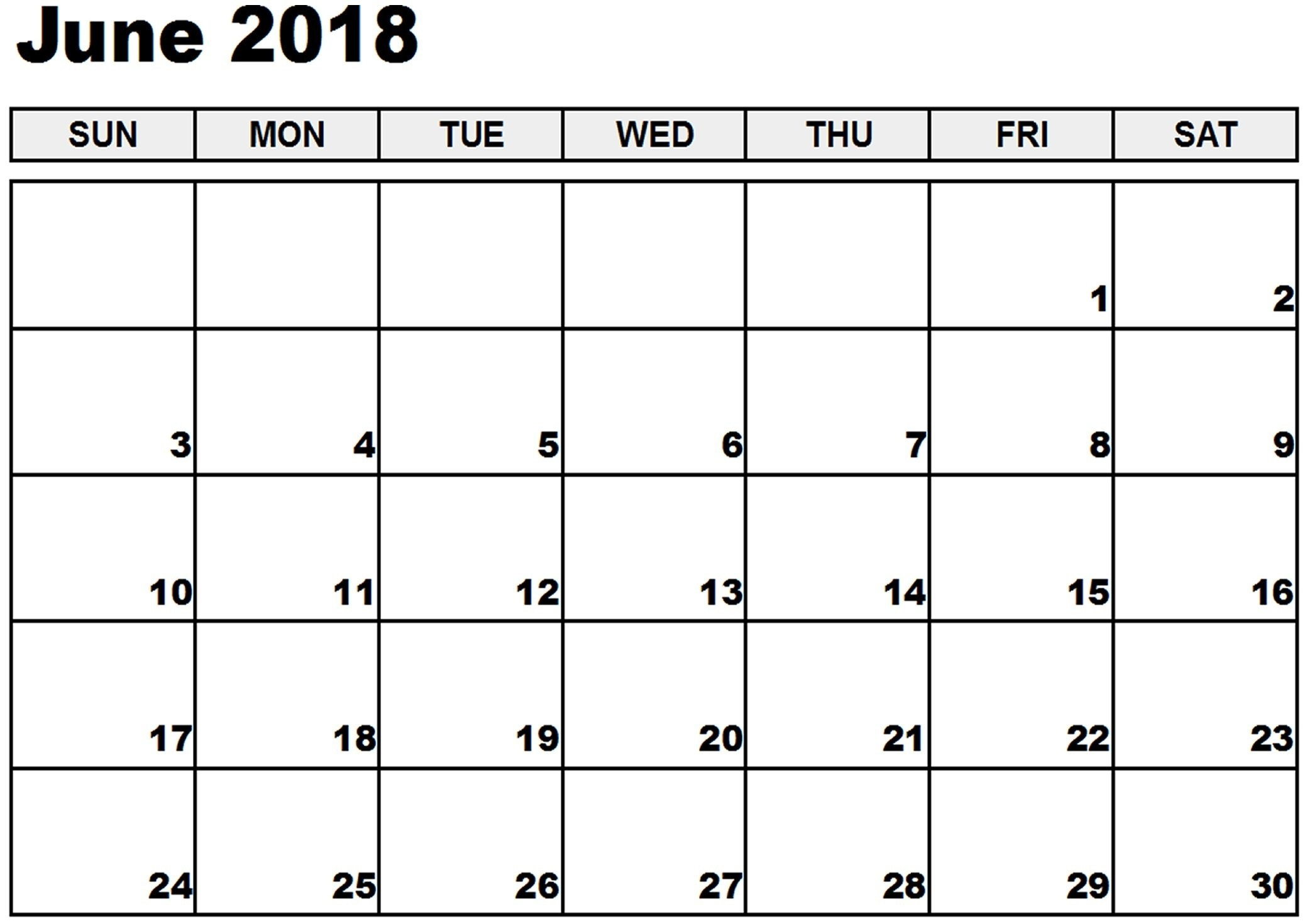 2018 June Chicago Calendar