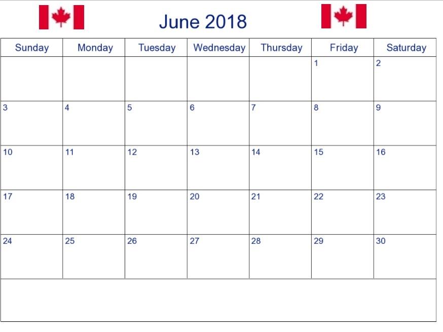 2018 June Holidays Calendar Canada