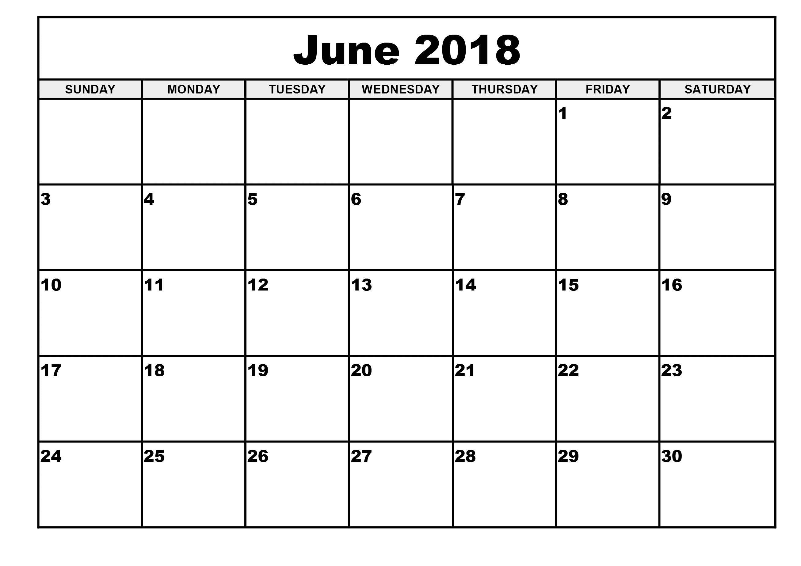 2018 June Monthly Calendar
