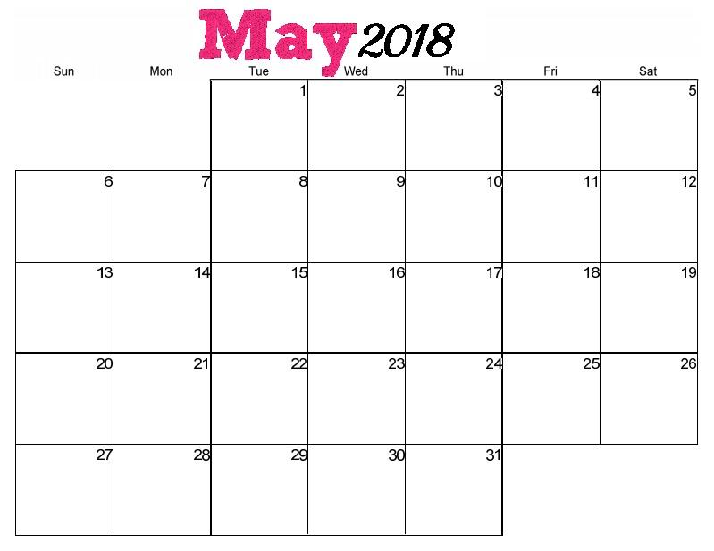 2018 May Calendar Cute