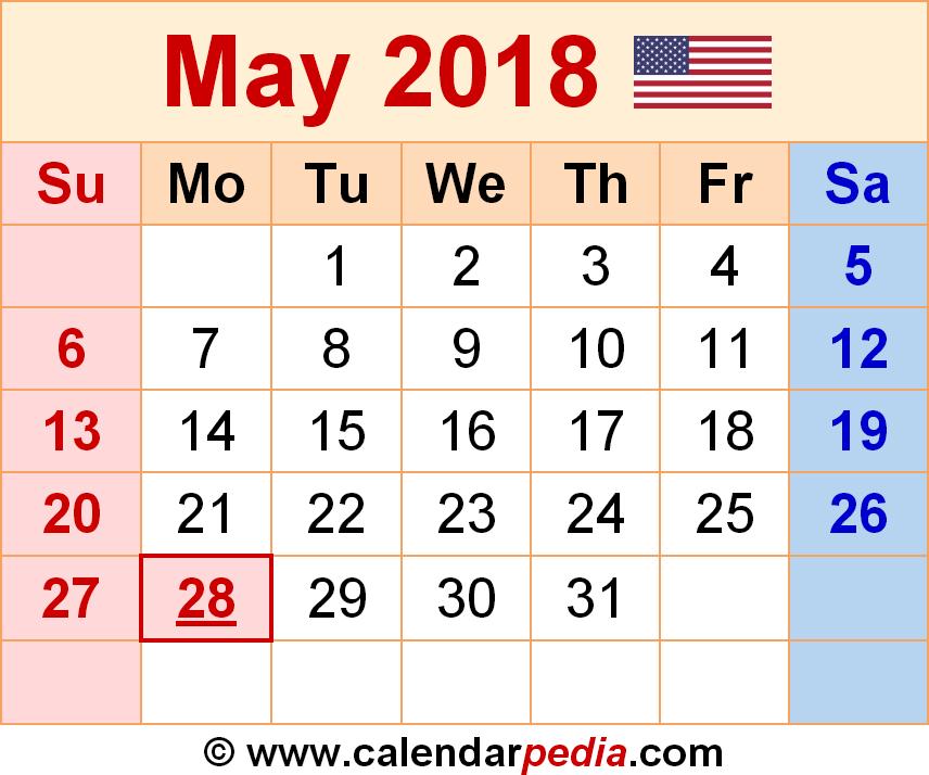2018 May Calendar Excel