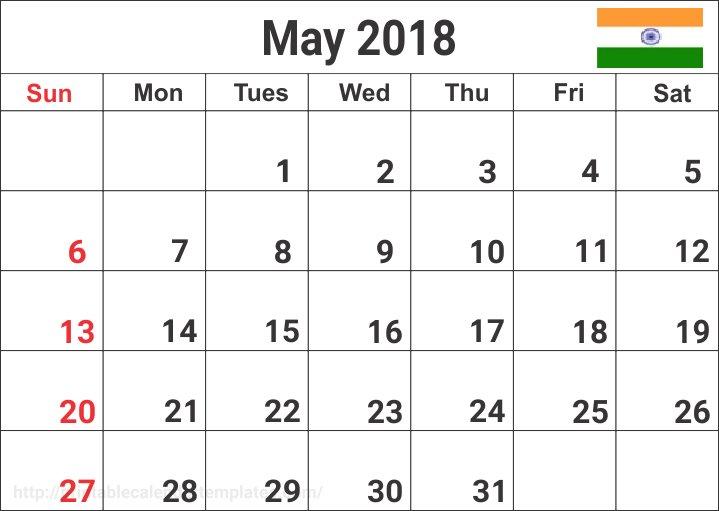 2018 May Calendar India