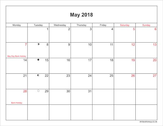 2018 May Calendar Landscape
