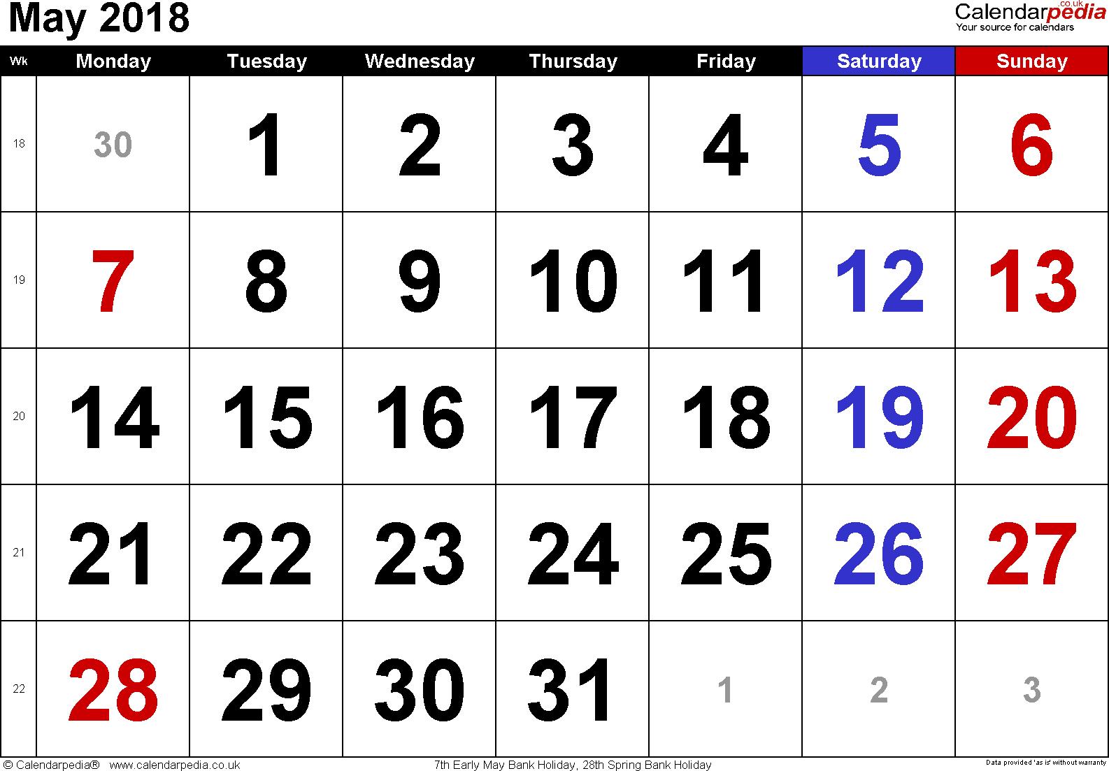 2018 May Calendar PDF