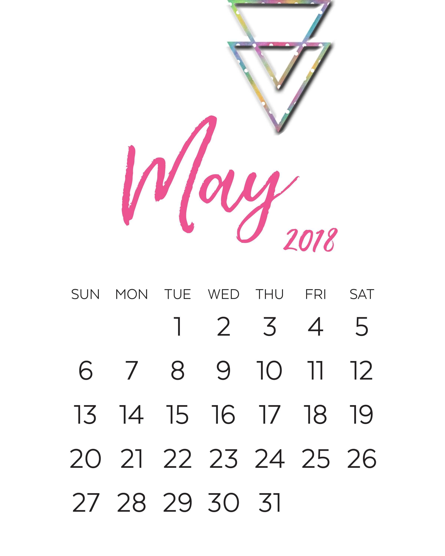 2018 May Calendar Pink