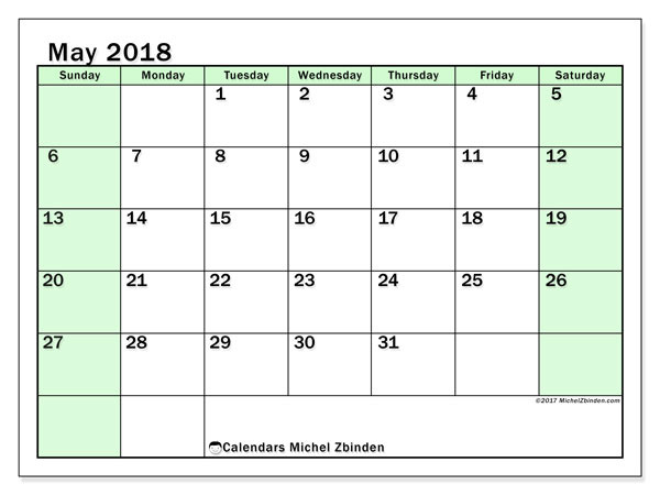 2018 May Calendar South Africa