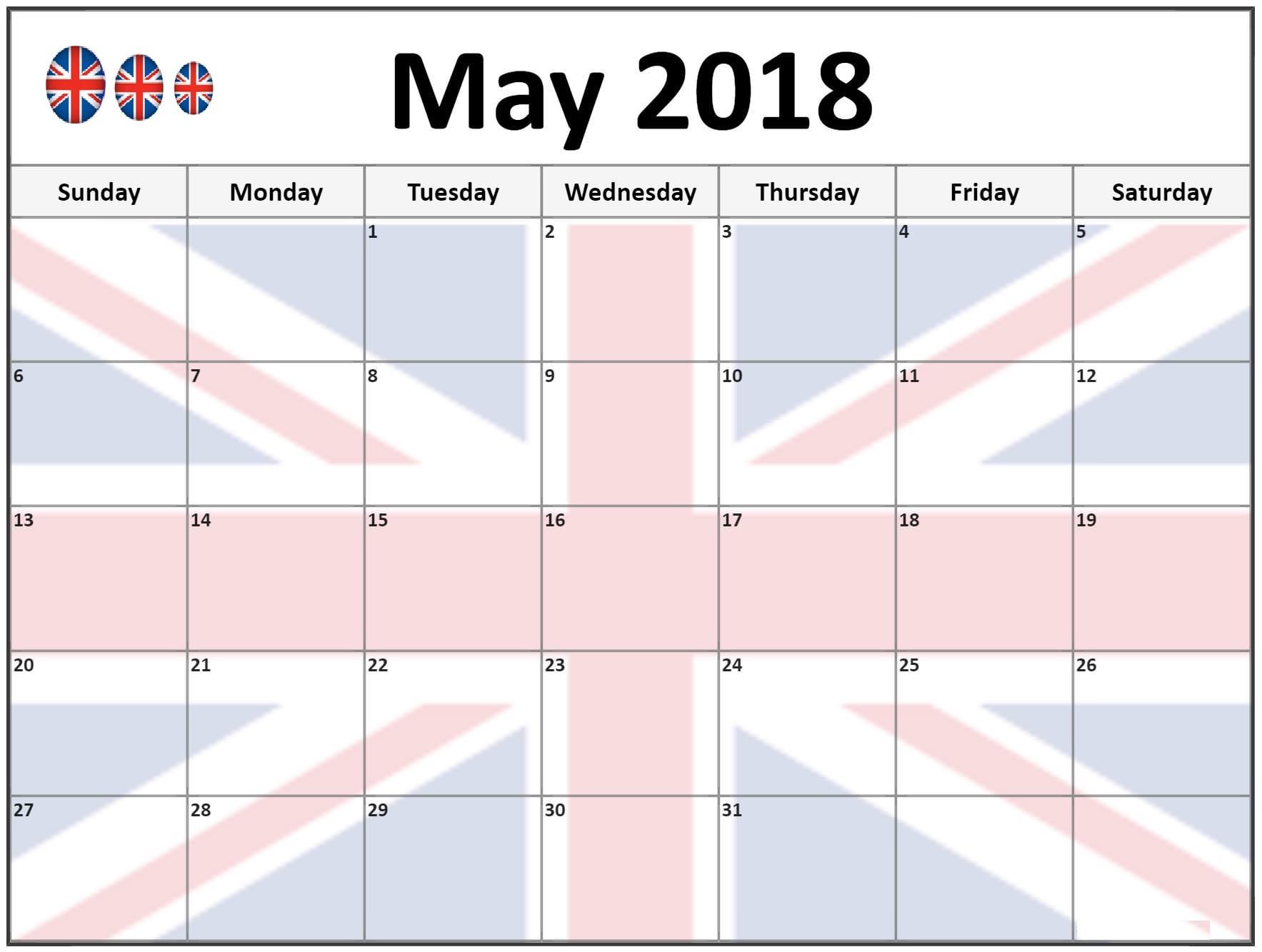 2018 May Calendar UK