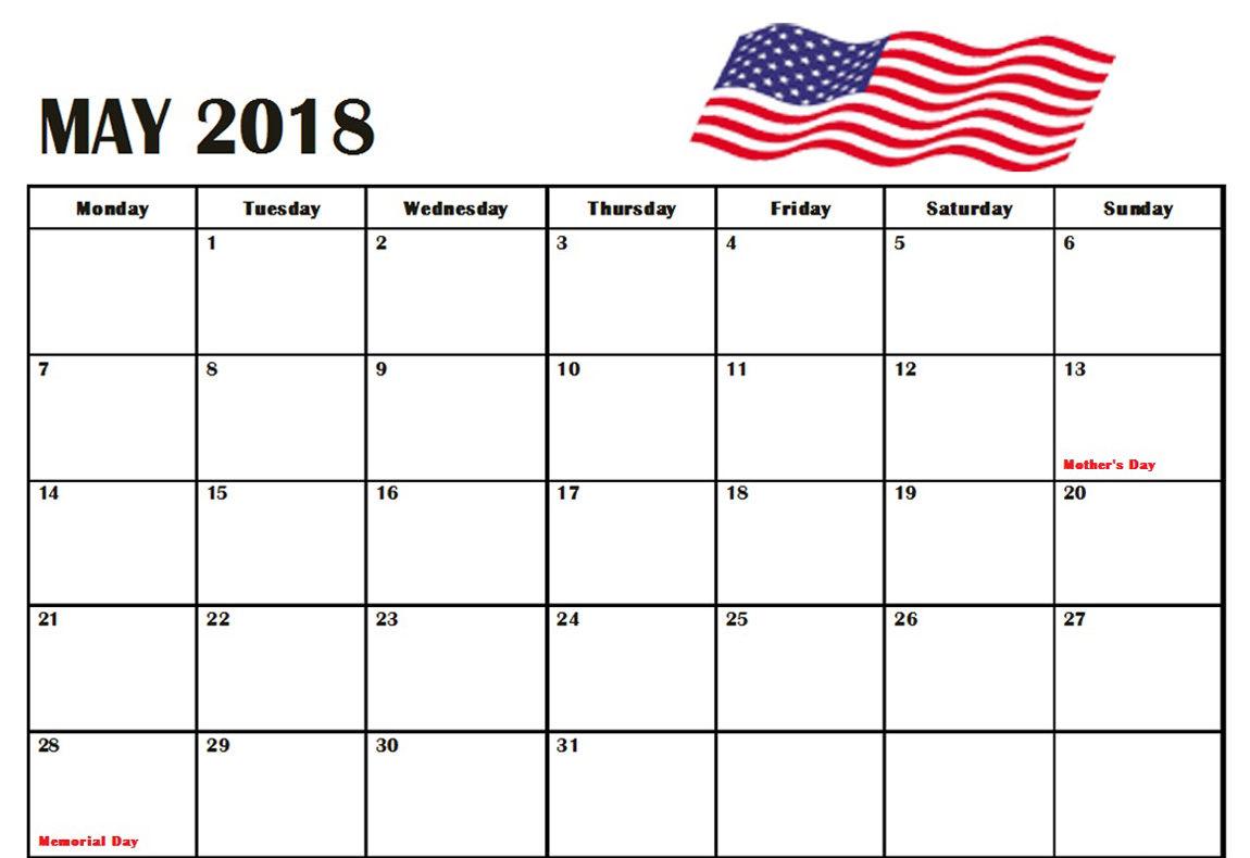 2018 May Calendar USA