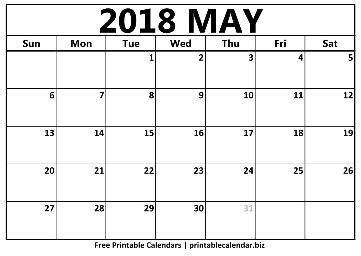 2018 May Calendar Vertical