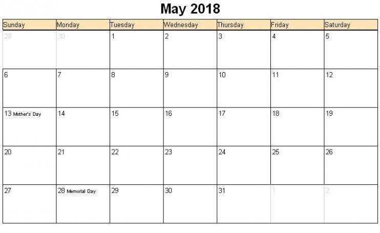 2018 May Calendar Word