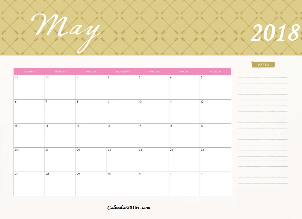 2018 May Monthly Calendar Printable