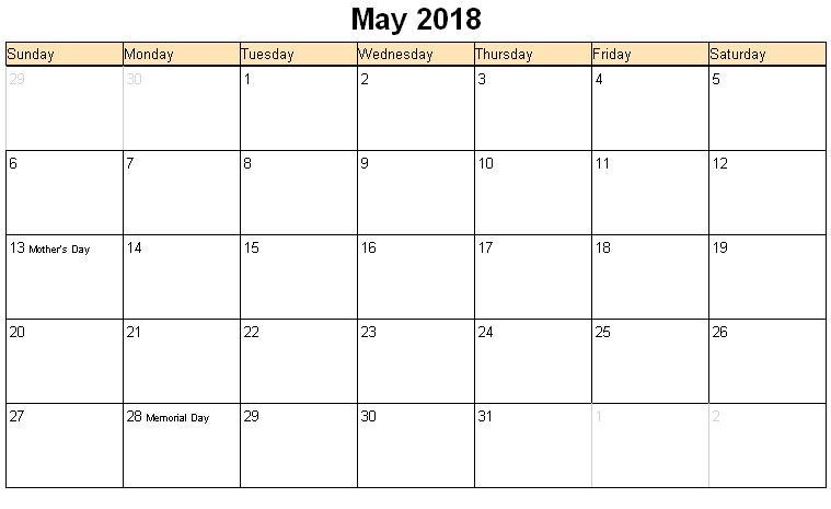 2018 May Printable Calendar Blank