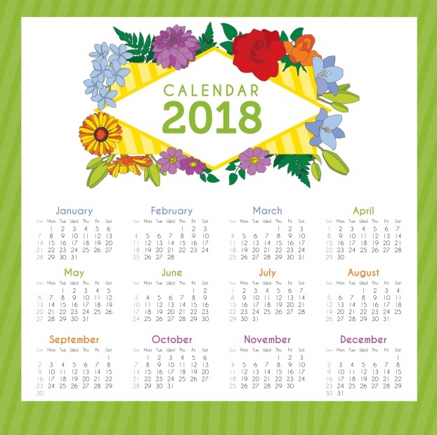 2018 Yearly Calendar Ready To Print
