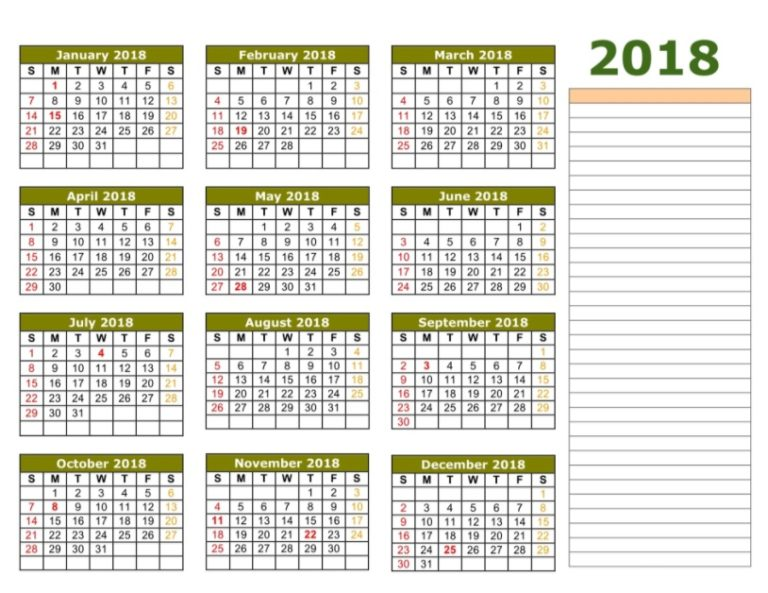 2018 Yearly Printable Calendar Blank Template
