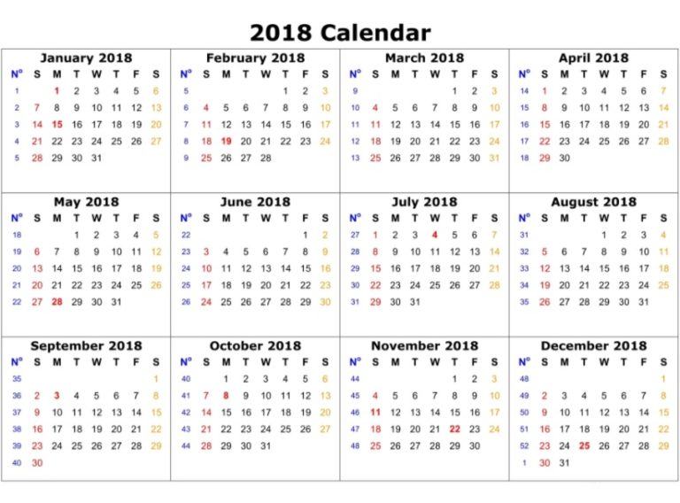 2018 Yearly Printable Calendar Free Download