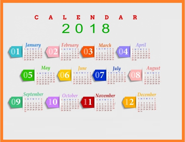 2018 Yearly Printable Calendar Multicolored Modern Design