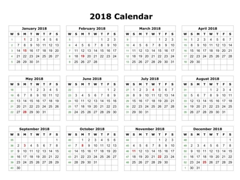 2018 Yearly Printable Calendar One Page
