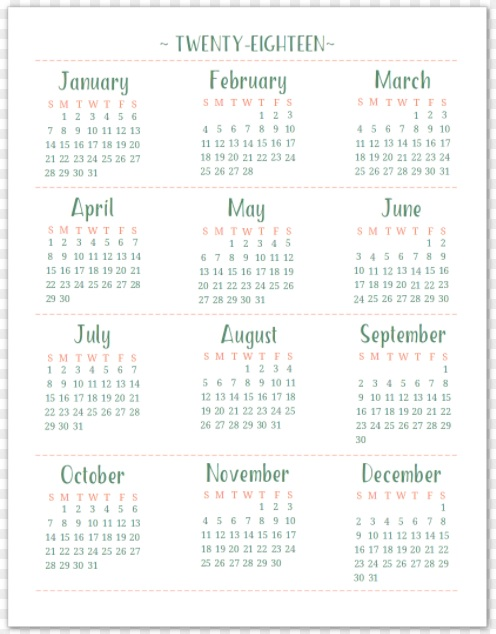 2018 Yearly Printable Calendar Template