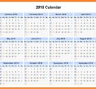 2018 Yearly Printable Calendar Wall Planner