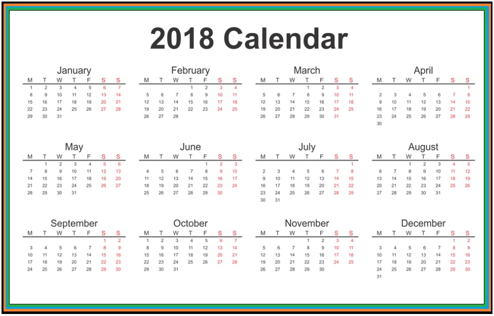 2018 Yearly Printable Calendar