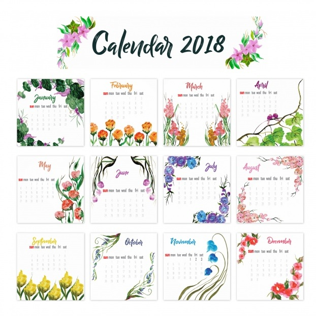 2018 Yearly Printable Calendars