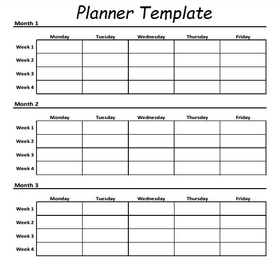 3 Month Planner Template