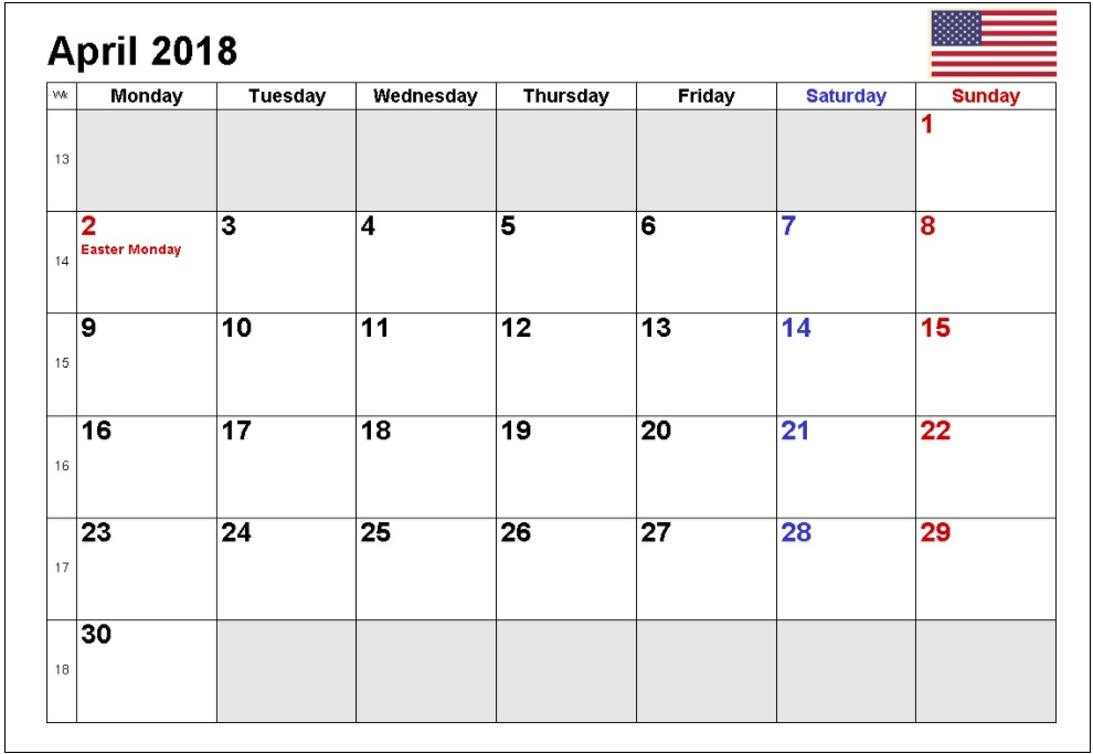 April 2018 USA Holidays Calendar